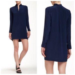 Vince Silk Navy Silk Tunic Long Sleeve Dress Sz10